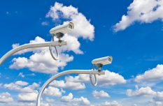 outdoor security cctv cameras against blue sky